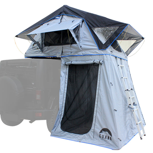 "Guana Equipment Nosara 55"" Roof Top Tent With Annex SIDE BACK View GE0003"