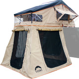 Guana Equipment Wanaka Roof Top Tent With XL Annex Front Side View GE0001