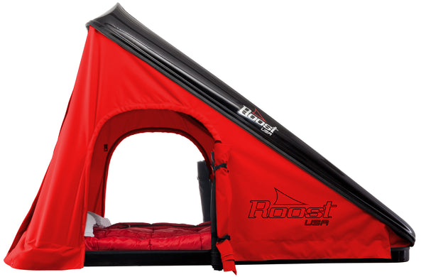 Roost Explorer Hardshell Roof Top Tent Black Shell Red Fabric