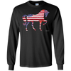 Patriotic Horse Flag Pattern Long Sleeve T-shirt