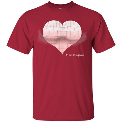 3D Pink Heart Optical Illusion Dark T-shirts