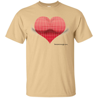 3D Red Heart Optical Illusion Light T-shirt