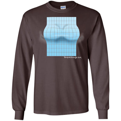 3D Blue Rectangle Optical Illusion Long Sleeve Dark T-shirts