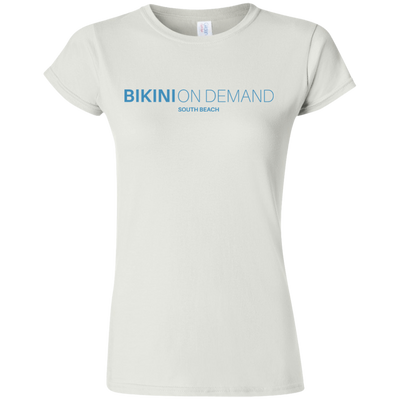bikini on demand blue logo  Softstyle Ladies' T-Shirt