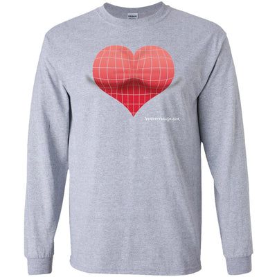 3D Red Heart Optical Illusion Long Sleeve Dark T-shirts
