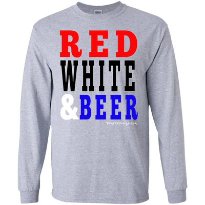 Red White And Beer Long Sleeve Light T-Shirts