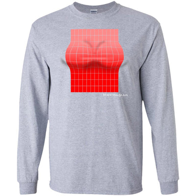 3D Red Rectangle Optical Illusion Long Sleeve Dark T-shirts