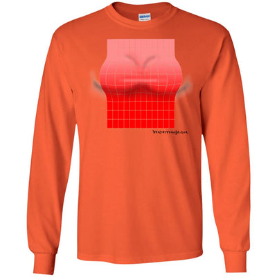 3D Red Rectangle Optical Illusion Long Sleeve Light T-shirts