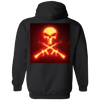 Neon Light Skull and Crossed AR-15 Pullover Hoodie 8 oz.