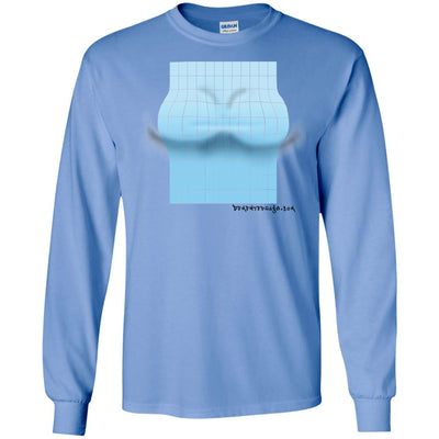 3D Blue Rectangle Optical Illusion Long Sleeve Light T-shirts