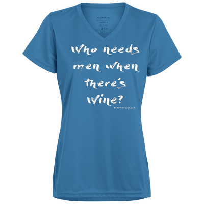 Who Needs men when there's wine? V-neck T-shirt