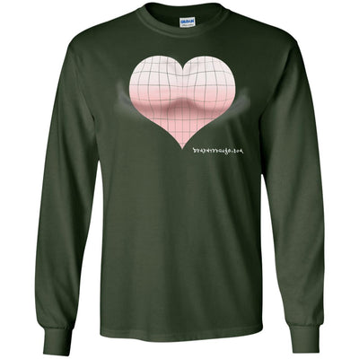 3D Pink Heart Optical Illusion Long Sleeve Dark T-shirts