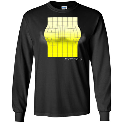 3D Yellow  Rectangle Optical Illusion Long Sleeve Dark T-shirts