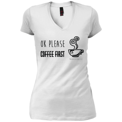 OK Please Coffee First V-Neck T-Shirt