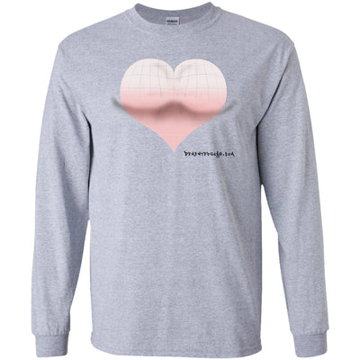 3D Pink Heart Optical Illusion Long Sleeve Light T-shirts