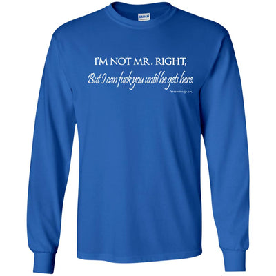 I'm Not Mr. Right But I Can Fuck You Until He Gets Here Long Sleeve Dark T-shirts