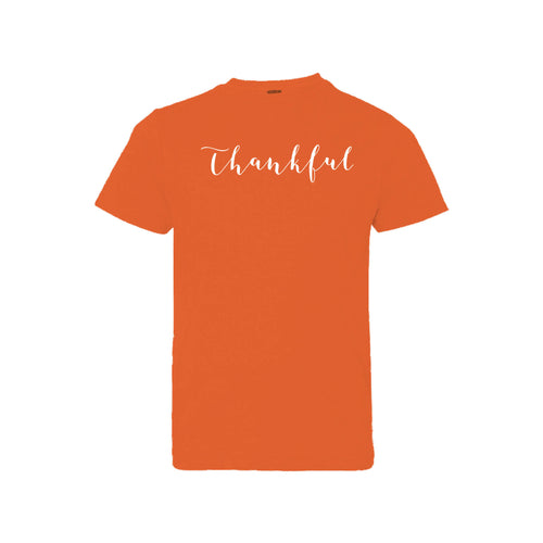thankful - orange - kids t-shirt - thanksgiving t-shirt - soft and spun apparel