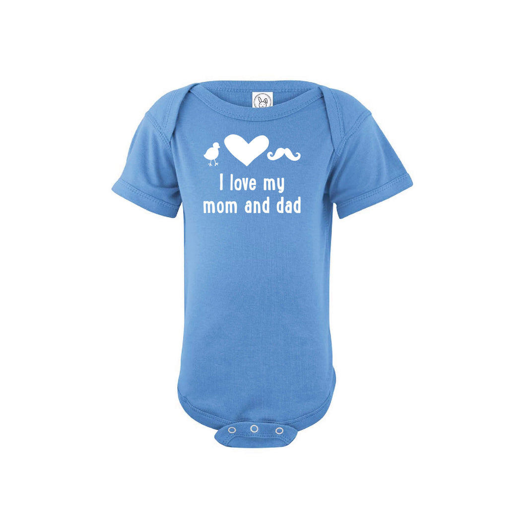 I love my mom and dad onesie - blue - wee ones - soft and spun apparel