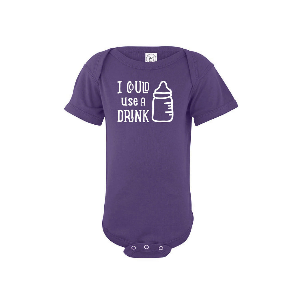 i could use a drink onesie - purple - wee ones - soft and spun apparel