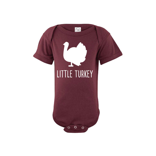 little turkey onesie - maroon - thanksgiving onesie - soft and spun apparel