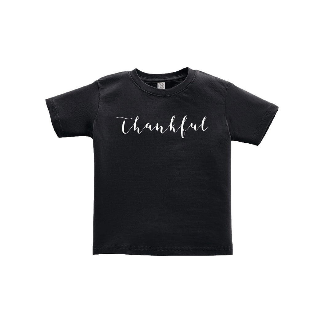 thankful toddler tee - black - thanksgiving tee - soft & spun apparel