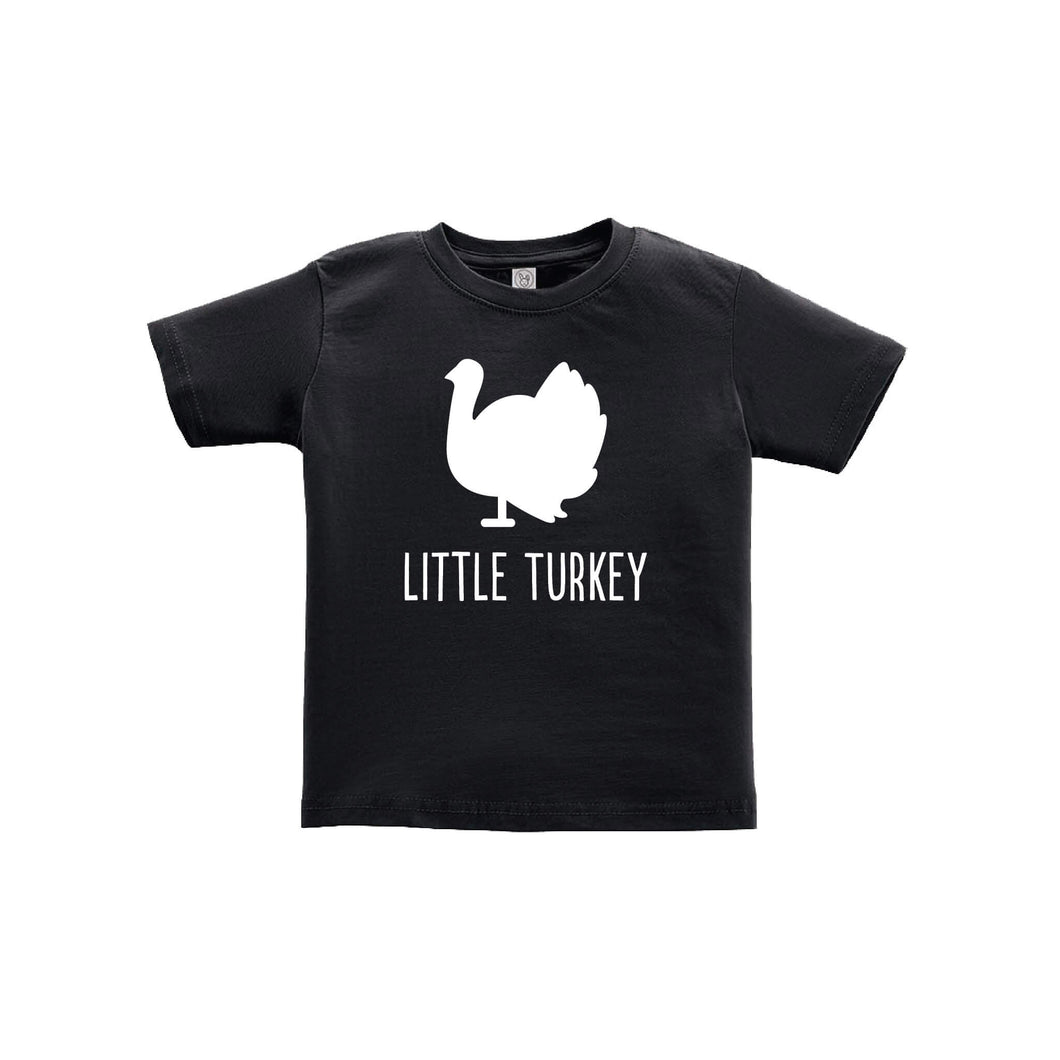 little turkey toddler tee - black - thanksgiving tee - soft and spun apparel