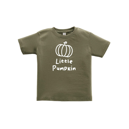 little pumpkin toddler tee - green - thanksgiving tee - soft and spun apparel