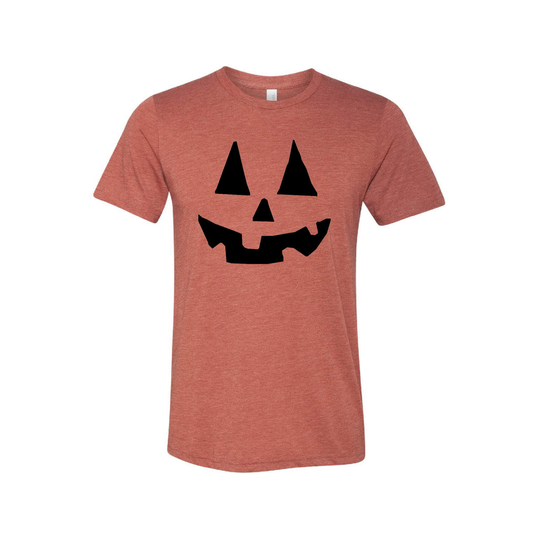 pumpkin face t-shirt - jack-o-lantern - clay - halloween t-shirts - soft and spun apparel