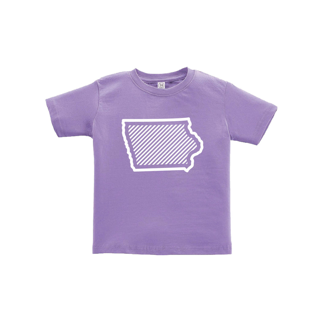 Iowa Outline Diagonal Design Toddler Tee