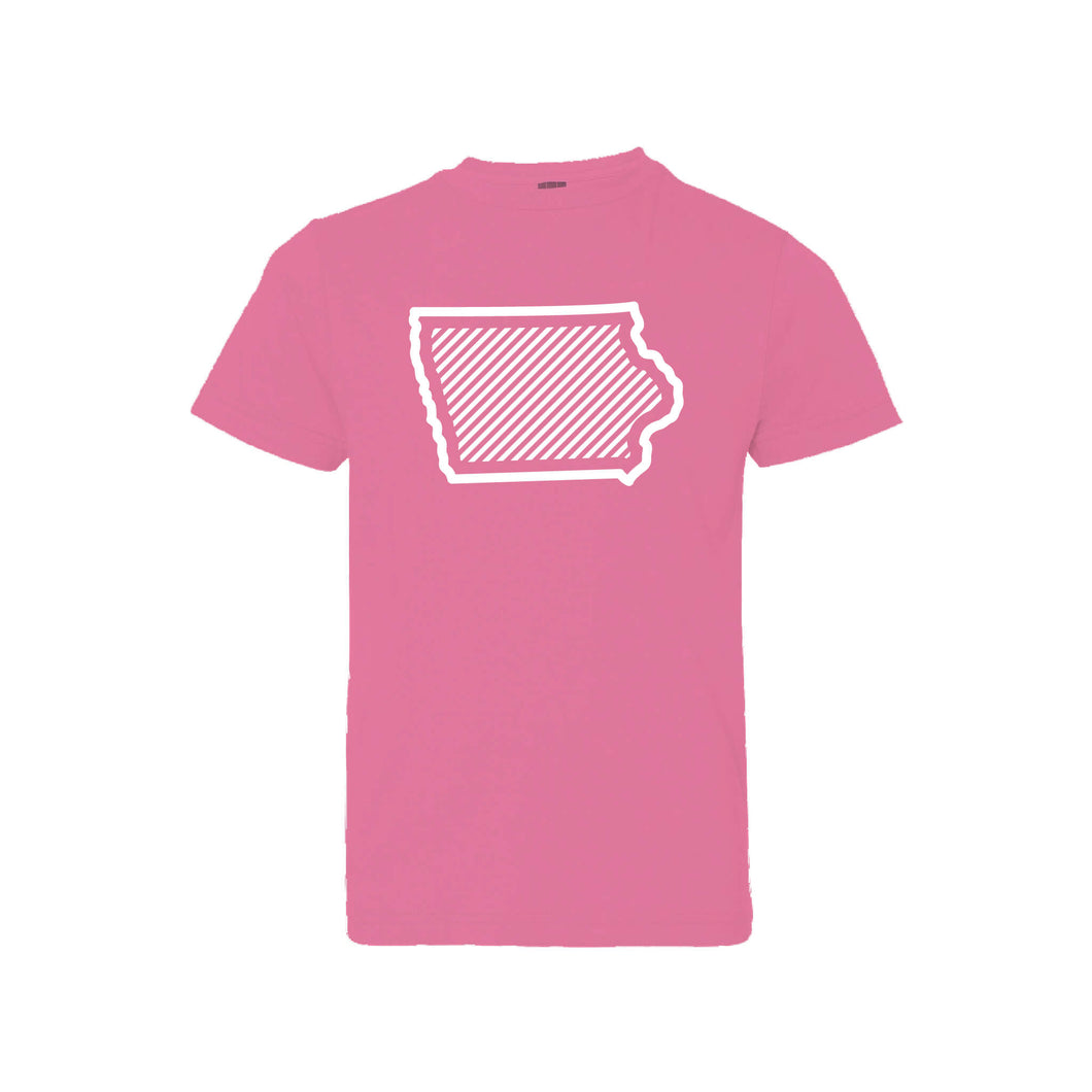 Iowa text Pink Kids T-Shirt