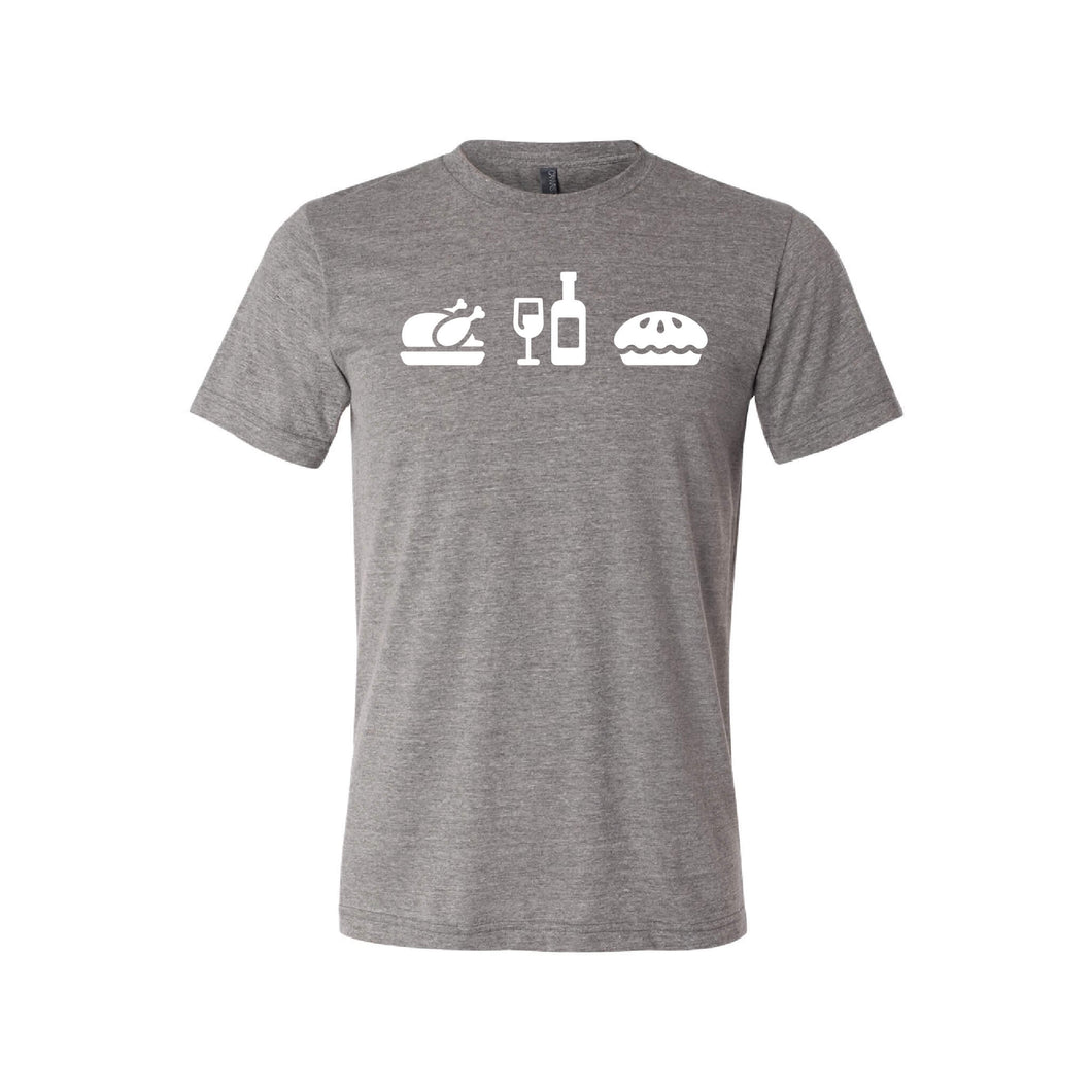 turkey + wine + pie graphic t-shirt - grey - thanksgiving t-shirt - soft and spun apparel