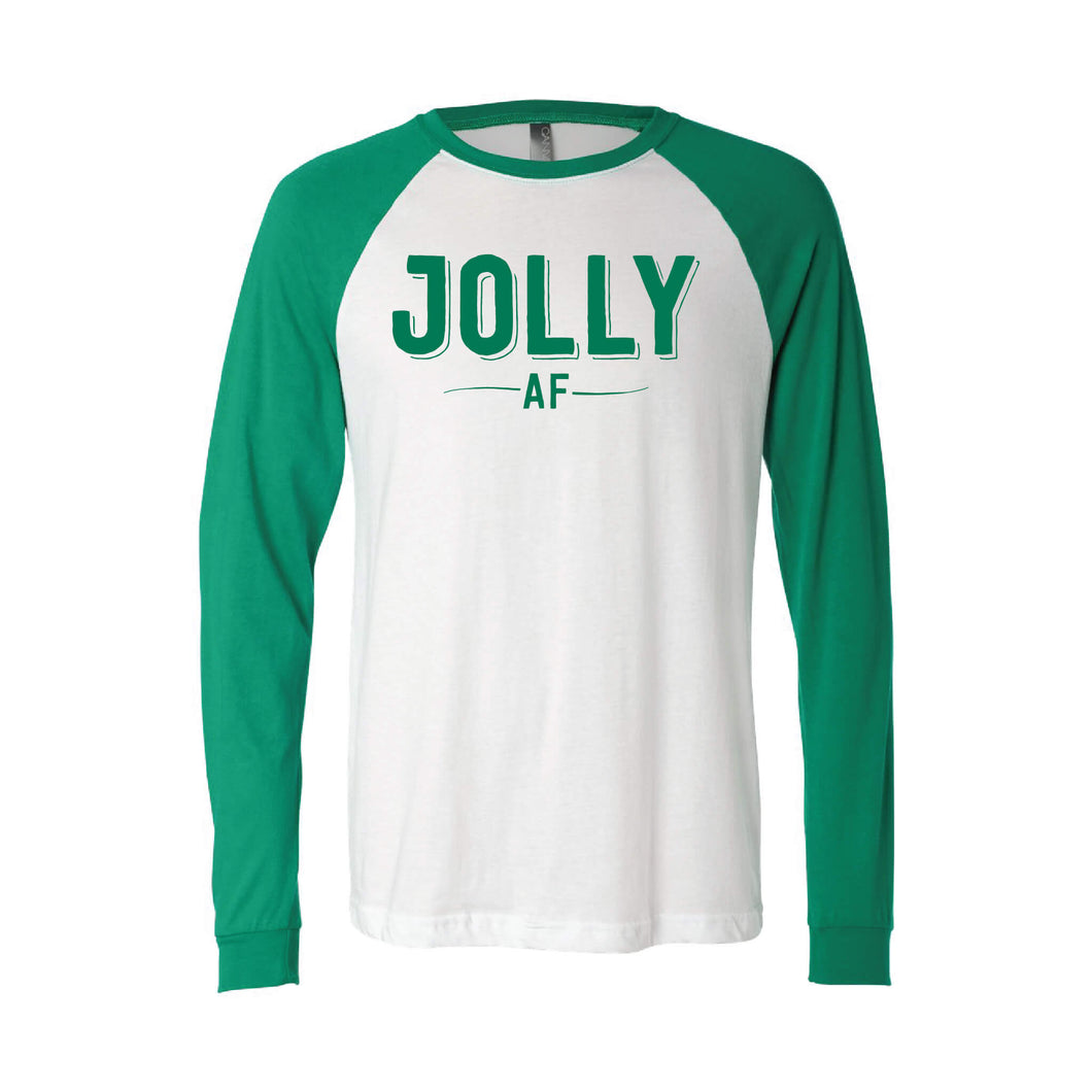 jolly af raglan long sleeve t-shirt - green - christmas t-shirts - soft and spun apparel