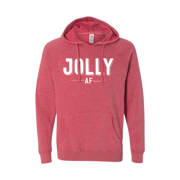 jolly af hoodie - pomegranate - christmas hoodies - soft and spun apparel