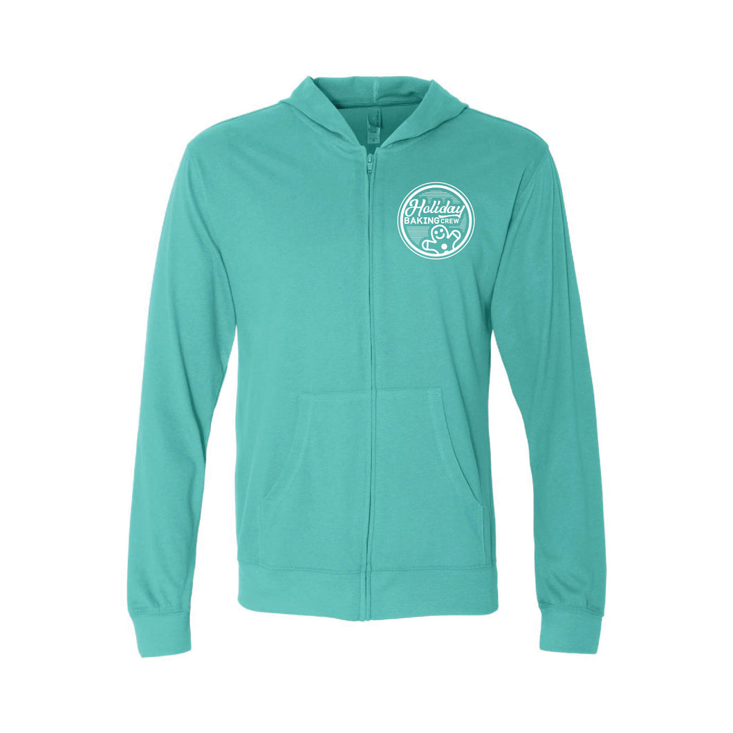 holiday baking crew full-zip hoodie - blue - christmas hoodie - soft and spun apparel