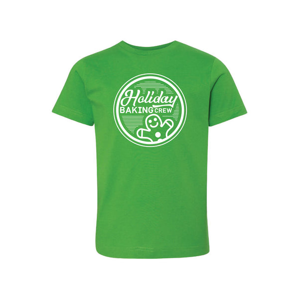 holiday baking crew kids t-shirt - apple - christmas t-shirt - soft and spun apparel
