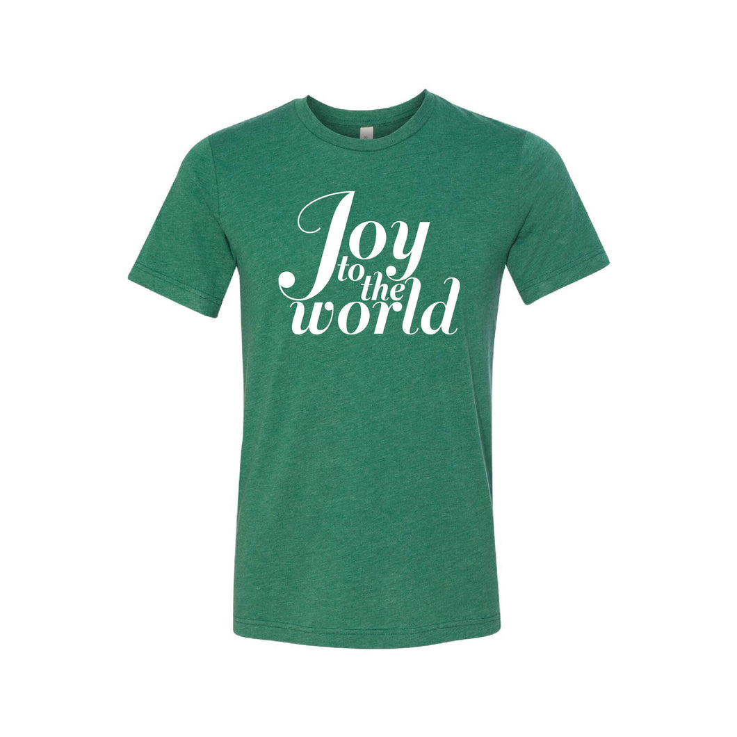 joy to the world t-shirt - grass green - christmas t-shirt - soft and spun apparel