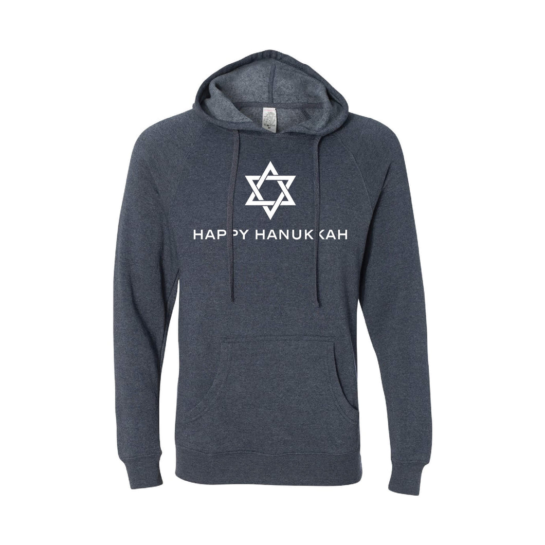 happy hanukkah hoodie - midnight navy - hanukkah sweatshirt - soft and spun apparel