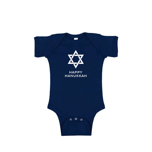 happy hanukkah onesie - navy - holiday baby clothes - soft and spun apparel
