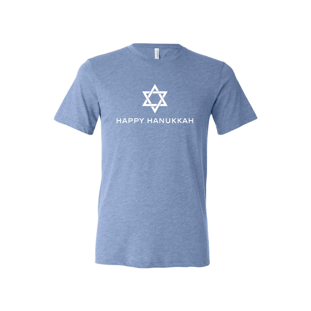 happy hanukkah t-shirt - blue - soft and spun apparel