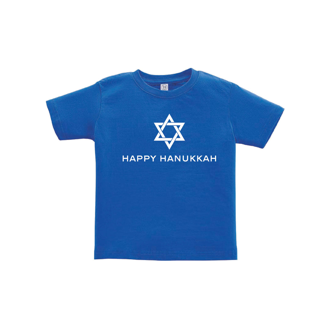 happy hanukkah toddler tee - royal - holiday kids clothes - soft and spun apparel