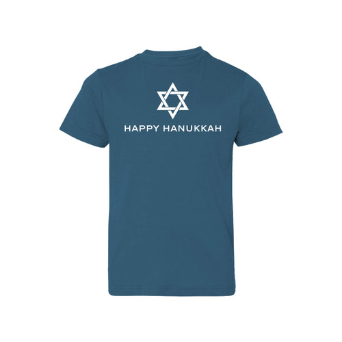 happy hanukkah kids t-shirt - indigo - holiday t-shirts - soft and spun apparel