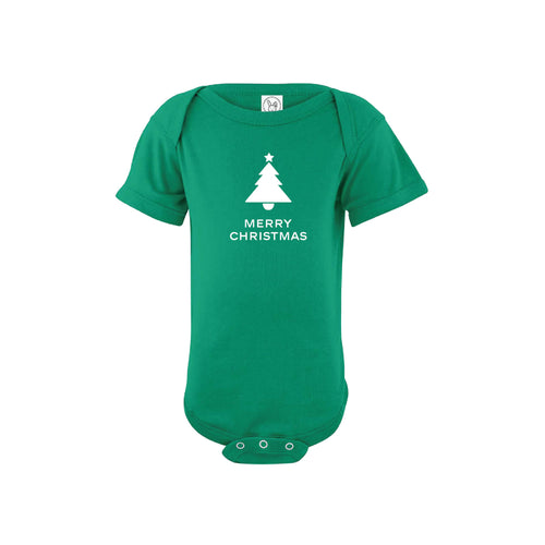 merry christmas onesie - green - christmas baby clothes - soft and spun apparel