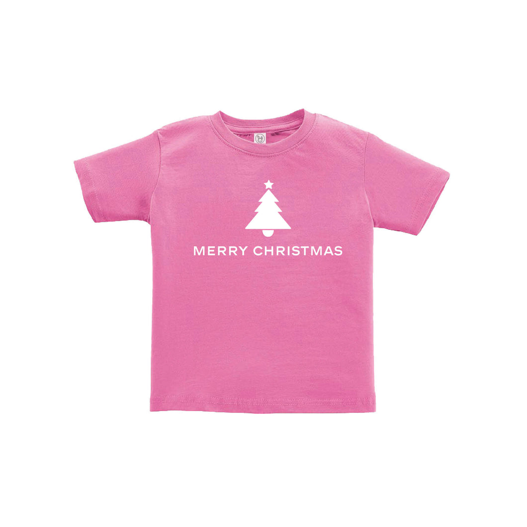 merry christmas toddler tee - raspberry - kids christmas clothes - soft and spun apparel