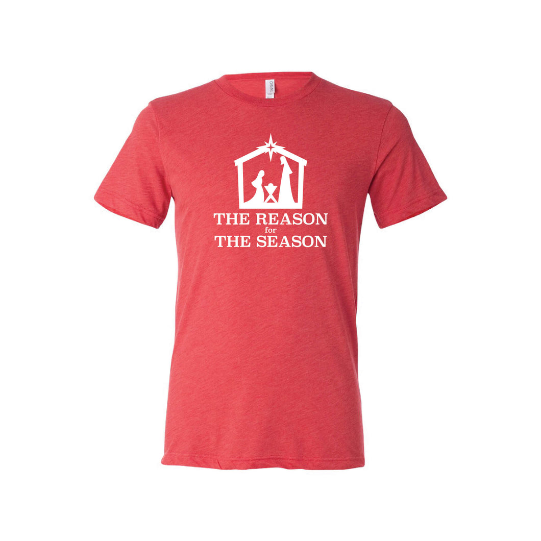the reason for the season - red - christmas t-shirt - soft and spun apparel