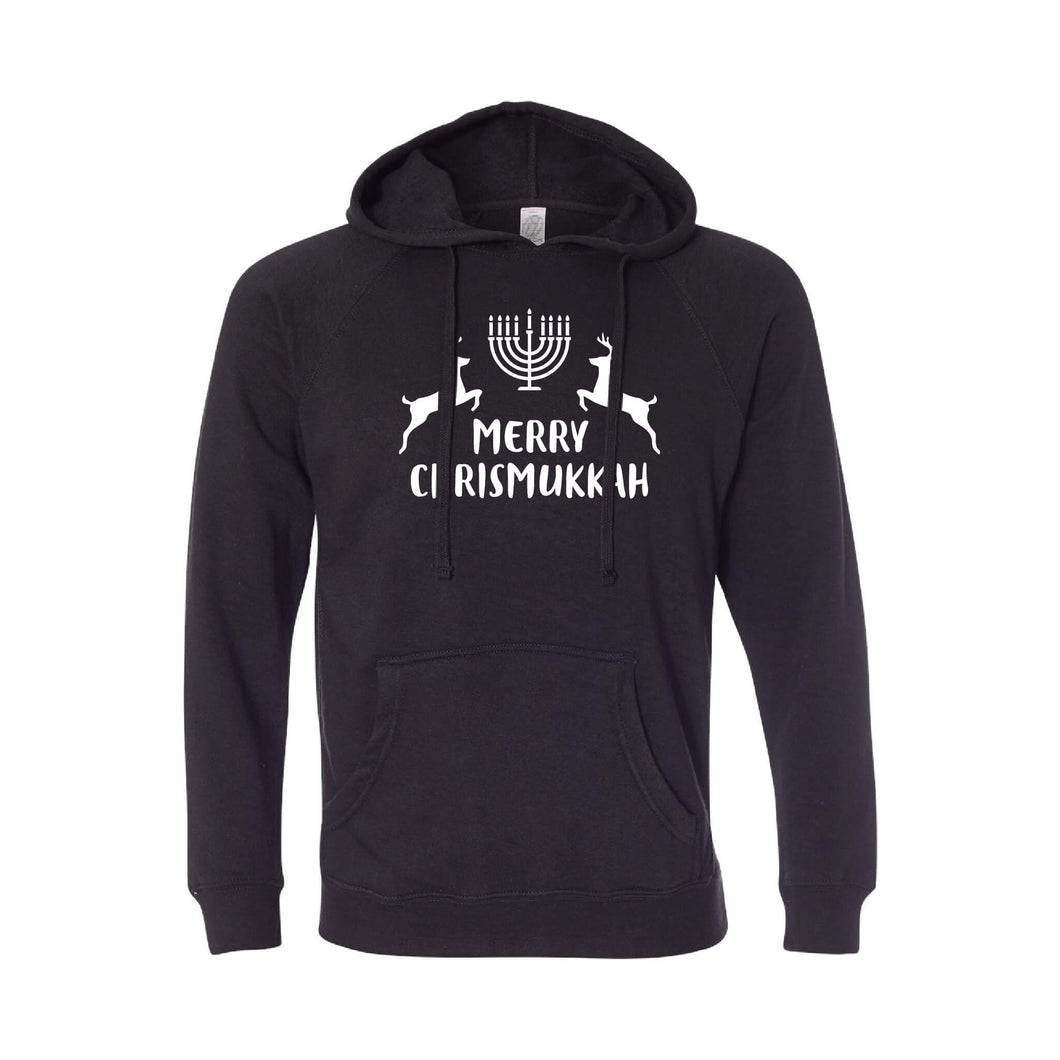 merry chrismukkah hoodie - black - christmas sweatshirt - soft and spun apparel