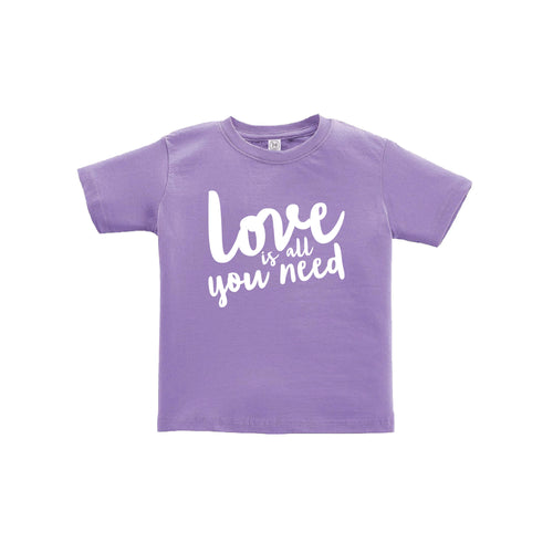 love is all you need toddler tee - lavender - soft and spun apparel
