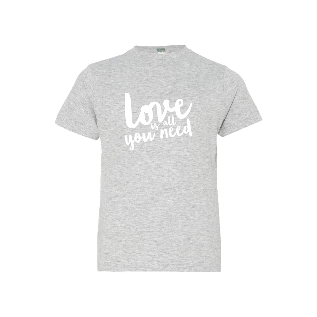 love is all you need kids t-shirt - heather - soft and spun apparel