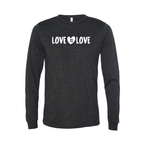 love is love long sleeve t-shirt - charcoal - soft and spun apparel
