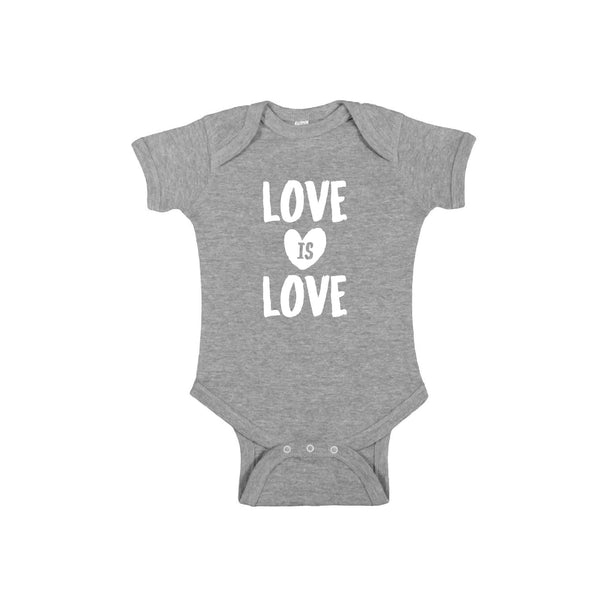 love is love onesie - heather - soft and spun apparel