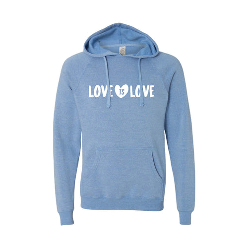 love is love pullover hoodie - pacific - soft and spun apparel